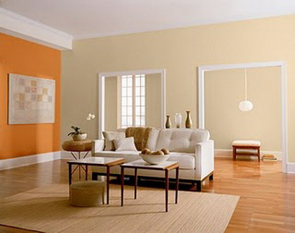 Decorar el living con naranja deco vanguardia for Pintura gris para interiores