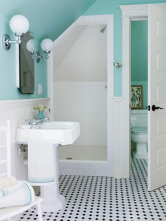 Estilo vintage en el ba o deco vanguardia for Bathroom design under eaves