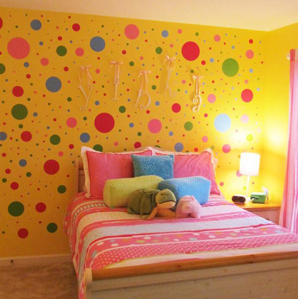 Dormitorios juveniles con c rculos deco vanguardia - Decorar paredes con gotele ...